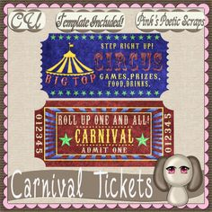 Carnival Tickets (FS-CU-TEMPLATE-PSP SCRIPT) [Pink] : Scrap and Tubes Store, Digital Scrapbooking Supplies