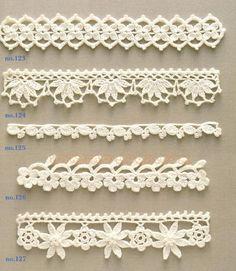 da Ondori motif and edging designs Crochet Edging Patterns, Vintage Crochet Patterns, Crochet Lace Edging, Crochet Borders, Crochet Squares, Filet Crochet, Crochet Doilies, Crochet Edgings, Lace Patterns