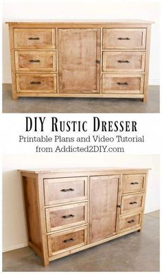 DIY Rustic Dresser w/ Free Building Plans - Learn how to build this beautiful DIY rustic dresser using these free printable plans and step-by-s - Diy Furniture Plans Wood Projects, Easy Woodworking Projects, Woodworking Furniture, Rustic Furniture, Woodworking Shop, Woodworking Plans, Woodworking Machinery, Woodworking Classes, Outdoor Furniture
