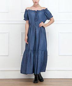 Look what I found on #zulily! Blue Tier Denim Off-Shoulder Dress - Women by Miss Maxi #zulilyfinds