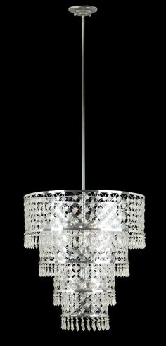 Six Light Chrome Drum Shade Chandelier | Williams Lighting Galleries