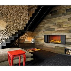 Modus Design Fireplace surrounded by steel, natural stone and wood cladding finishes give this room a modern rustic look Slate Fireplace, Rustic Fireplaces, Home Fireplace, Fireplace Design, Fireplace Ideas, Fireplace Modern, Wall Fireplaces, Linear Fireplace, Electric Fireplace