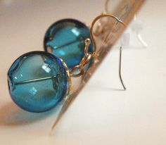 aqua blown glass earing