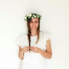 Rose Tinted Flower Crown - Lush greenery with white miniature garden roses.