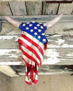 Bull Skulls, Deer Skulls, Animal Skulls, Cow Skull Decor, Cow Skull Art, Deer Decor, Antler Decorations, Flag Decor, Flag Painting