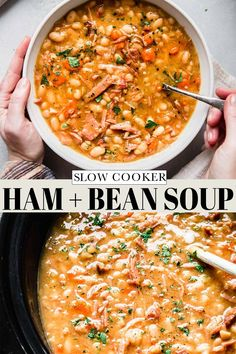 Slow Cooker Ham and Bean Soup is the perfect comfort food for a cold day. Richly flavored with a ham bone and beans, this soup makes for an easy dinner that takes less than 10 minutes of hands-on time. // soup recipe // ham soup // crockpot soup // slow cooker soup Ham And Beans, Ham And Bean Soup, Ham Soup, Crock Pot Soup, Slow Cooker Cauliflower Soup, Slow Cooker Lentil Soup, Slow Cooker Chicken, Soup Recipes, Cooking Recipes