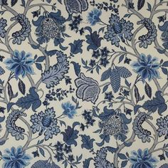 Bagatelle Fabric by Manuel Canovas. Linen in Bleu de Chine. White Prints, Floral Prints, Textile Patterns, Print Patterns, Textiles, Blue And White Fabric, Fabric Wallpaper, Decorative Pillow Covers, Decorating Blogs