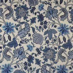 Bagatelle Fabric by Manuel Canovas. 100% Linen in Bleu de Chine.