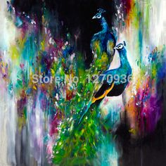 Best Price and High Quality Assured by Big Wholesale Hand Painted Abstract Peacock Oil Painting Canvas for Hotel Decoration