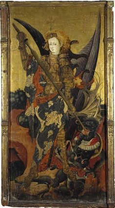 St Michael Vanquishing the Devil, early fifteenth century,Gonzalo Pérez; St Michael is portrayed with his symbolic attributes: wings, armour and a weapon.
