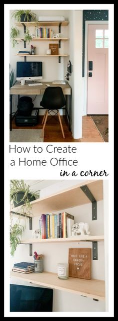 How to Create a Home Office in a Living Room: DIY Shelves & Paint Selections – Modern Office Decor, Home Office, Office Ideas, Cozy Home Decorating, Rental Decorating, Interior Decorating, Living Room Decor, Bedroom Decor, Pinterest Home