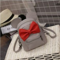 leather book bags for college 2016 fashion cool bookbag For Teenagers Mickey ears sweet bow College Wind mini backpack Rucksack