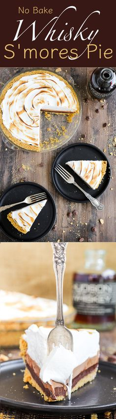 This No Bake Whiskey Smores Pie is a slice of Summer Heaven! There are layers of dark chocolate whisky ganache, milk chocolate…