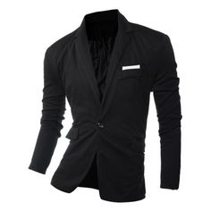29.59$  Buy here - http://dilef.justgood.pw/go.php?t=199423107 - One Button Edging Lapel Long Sleeve Blazer