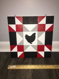 1 ft x 1 ft Chicken barnquilt made from exterior plywood & exterior paint. Perfect size for a chicken coop or garden shed. Barn Quilt Designs, Barn Quilt Patterns, Quilting Designs, Barn Star Decor, Chicken Barn, Chicken Houses, Chicken Coops, Painted Mailboxes, Goat Barn