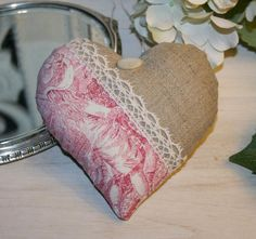 Hang over heart pillow Toile de Jouy Lace - Rose Boudoir - Hang over heartsAntiques, antique linens, sewing boxes and sewing notions, contemporary creations Valentine Crafts, Valentines, Coin Couture, Contemporary Fabric, Heart Pillow, Heart Ornament, Sewing Notions, Love Heart, Altered Art