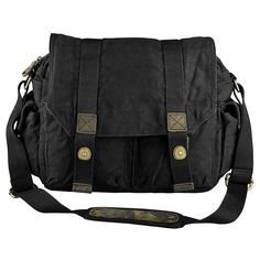 Zodaca Men Canvas Vintage Leather Shoulder Messenger Bag with Button Lock - Overstock™ Shopping - Great Deals on Zodaca Messenger Bags