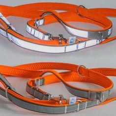 3m #Hundeleine mit Neopren-Unterfütterung in Neon-Orange und Reflexstreifen; Spezialanfertigung