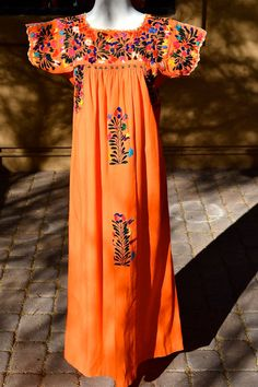 vtg Orange MEXICAN BOHO Beautifully by faintofheartvintage on Etsy, $75.00