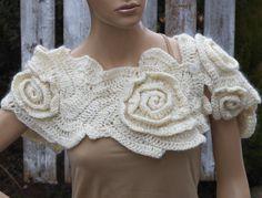 Crochet Scarf Freeform crochet roses Womens scarf Wedding scarf Capelet Neck Warmer cream-colored Ecru metalic unique desing textured scarf