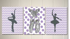 Ballerina nursery art, baby girl nursery, girl's room wall art, chevron, polka dot, grey purple nursery, dorm room poster by PicabooArtStudio, $23.99