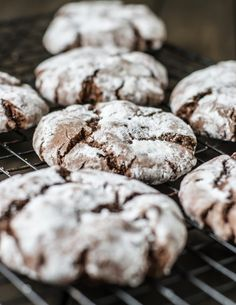 Chocolate Sambuca Crinkle Cookies - I substituted Baileys Vanilla Cinnamon for the Sambuca, and used cocoa nibs instead of walnuts...also flattened cookies a bit before baking