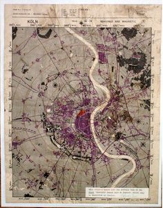 Original Pilots Map   Bomber Raid on Cologne, WW2