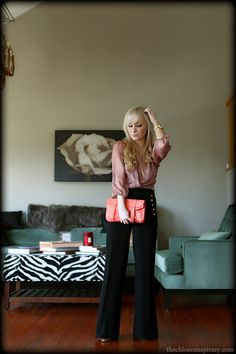 Outfit Of The Yesterday: Mauve + Coral + Gold + Black (Fancy Pants!)   t h e (c h l o e) c o n s p i r a c y : fashion + life + style