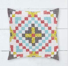 Speed piecing technique finished cushion by Technical Editor Sarah Griffiths of Love Patchwork & Quilting magazine