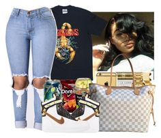 """"""""""" by wavyjai ❤ liked on Polyvore featuring Louis Vuitton and NIKE"""