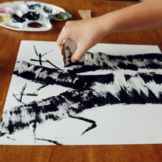 Birch trees bottom basement walls with lighter colour of basement, slowly fades into basement lighter colour, hang photos in front - family trees (staircase accent walls) Birch Tree Art, Art Painting, Tree Painting, Art Projects, Holiday Art, Art, Mom Art, Diy Art, Art Tutorials