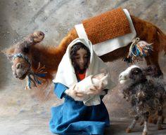 Nativity Needle Felted Animals, Felt Animals, Needle Felting, Christmas Nativity, Christmas Decor, Merry Christmas, O Holy Night, Camels, Felt Hearts
