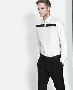 ZARA - HOMBRE - CAMISA ESTRUCTURA COMBINADA Cool Shirts, Casual Shirts, Boys Kurta Design, Urban Chic Fashion, Mens Designer Shirts, White Shirt Men, Pant Shirt, Mens Fashion Suits, Shirt Designs