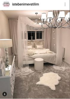 White canopy bedroom - Schlafzimmer - Your HairStyle Dream Rooms, Dream Bedroom, Home Bedroom, Silver Bedroom Decor, Taupe Bedroom, Bedroom Interiors, Master Bedroom, Girl Bedroom Designs, Girls Bedroom
