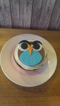 Handmade Angry Owl! Set of 12 (one dozen.Fondant Cupcake, Cake or Cookie Toppers
