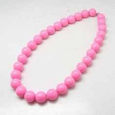 Fashion Necklaces, with Opaque Acrylic Beads, Brass Magnetic Clasps and Tiger Tail, Pink