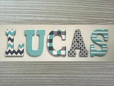 41 Ideas For Painting Walls Stripes Grey Wooden Letters For Nursery, Painting Wooden Letters, Letters For Kids, Diy Letters, Painted Letters, Wood Letters, Hand Painted, Chevron Wooden Letters, Painting Stripes On Walls