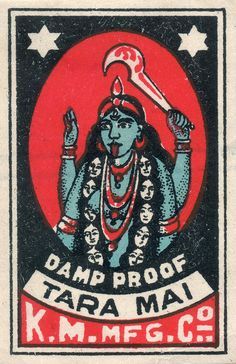 The goddess Kali with a garland of human heads on an Indian matchbox label