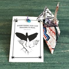 Talisman • Good Luck Crane // Hospital visit? Exam? Going on a long journey? New job? This origami crane stands for long life & good luck. Due to its size, you can take it everywhere you go. It's nice to give it as a little present when someone is having a rough time, or is going on a big trip. Hanging them in one's home is thought to be a powerfully lucky and benevolent charm.