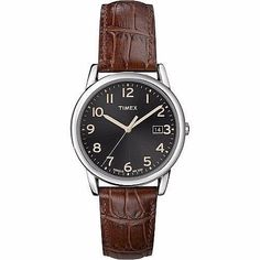 Shop for Timex Men's Elevated Classics Dress Black Dial Brown Leather Strap Watch. Get free delivery On EVERYTHING* Overstock - Your Online Watches Store! Amazing Watches, Cool Watches, Watches For Men, Mens Watches Leather, Leather Men, Brown Leather Strap Watch, Timex Watches, Gents Fashion, Online Watch Store