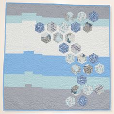 Fractured Hexagons quilt - modern baby quilt by Jen Eskridge