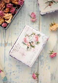 Ana Rosa - tin with hinges, like an altoid tin that has been painted and decorated, line the inside, or fill with pot pourri