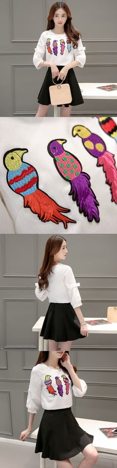 2017 new women's early spring bow three quarter bell sleeve blouse bird embroidery shirt + braces skirt slim two pieces one sets