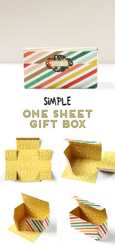 Learn how to make this easy gift box (including the lid) using only a single piece of scrapbook paper #giftbox #papercraft #scrapbook #diybox