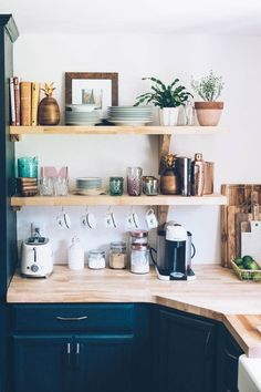 Jess Ann Kirby kitchen renovation with new open shelving and butcher block countertops. Cup hooks under shelves Küchen Design, House Design, Interior Design, Design Ideas, Site Design, Wall Design, New Kitchen, Kitchen Decor, Kitchen Shelves