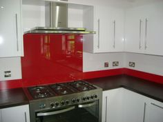 Made to measure red glass splashback for your kitchen.