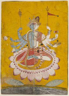 Harihara: Vishnu (Hari) on the left and Shiva (Hara) on the right joined as a single being. Vishnu in a red garment; ash-covered ascetic Shiva sits on a tiger skin. Vishnu's garland of flowers becomes Shiva's garland of skulls. Mankot, India ca. Indian Traditional Paintings, Indian Paintings, Tantra Art, Om Namah Shivaya, India Art, Philadelphia Museum Of Art, Shiva Art, Hindu Deities, Indian Gods