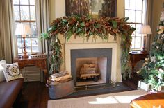 Between Naps on the Porch: Gorgeous Christmas Mantel...Can You Name All the Greenery Used to Create This Lush Mantel Dressing?