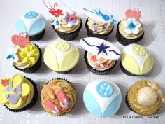 VW Campervan & Surfing Cupcakes by La Crème Cupcake, via Flickr