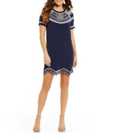Sugarlips Fauna Embroidered Scalloped Sheath Dress #Dillards